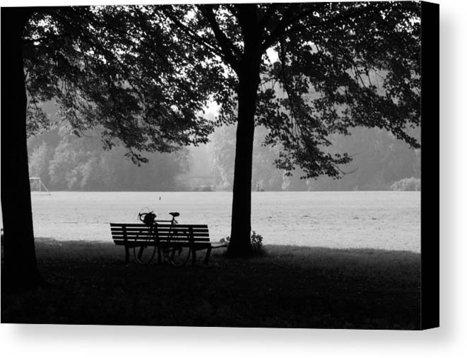 Black & White Canvas Print featuring the photograph Break Time by Theresa Ferron