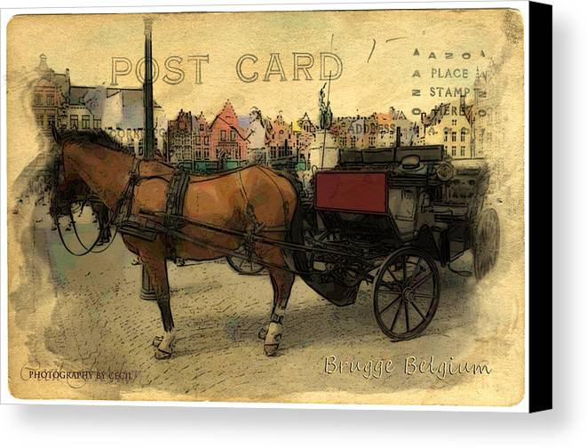 Brugge Canvas Print featuring the photograph Brugge Carriage by Cecil Fuselier