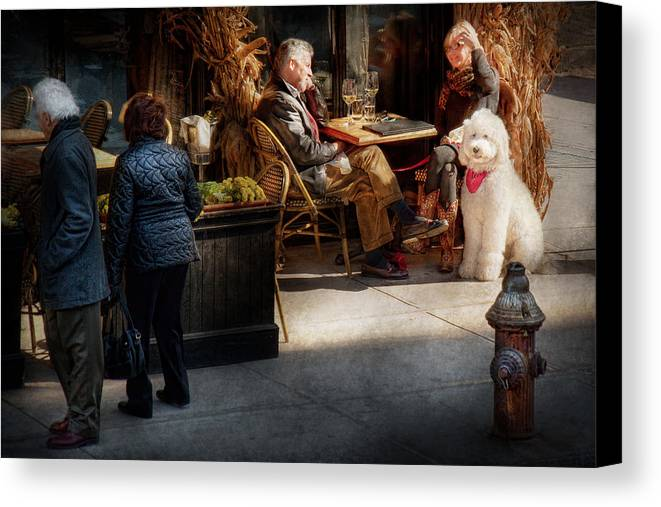 Dog Canvas Print featuring the photograph Cafe - Ny - High Line - Waiter I Would Like To Order by Mike Savad