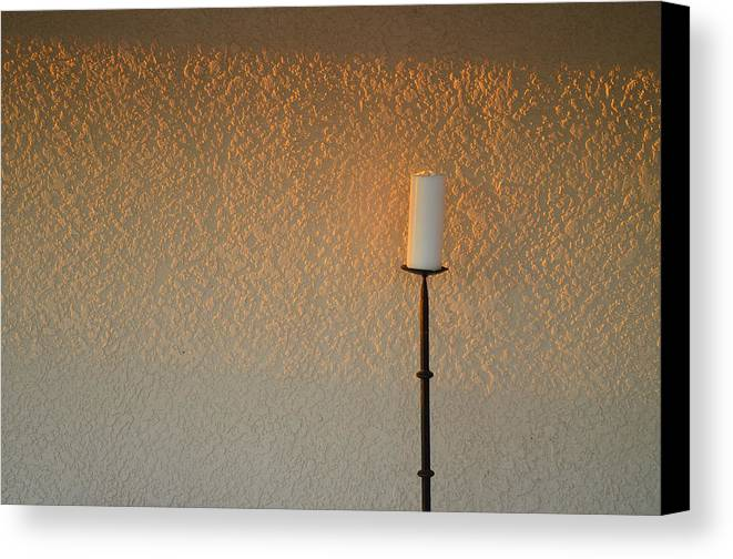 Candle Canvas Print featuring the photograph Candle With Fading Light by Thomas Hurst