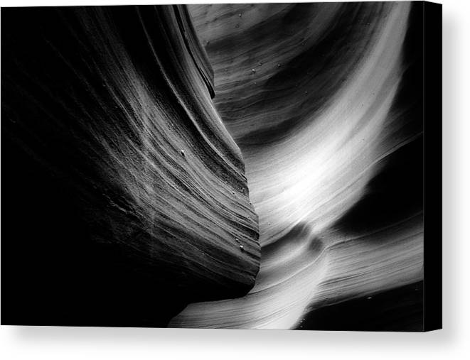 Southwest Canvas Print featuring the photograph Canyon Curves In Black And White by Christine Till