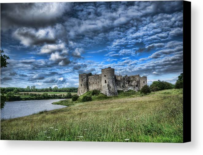 Carew Castle Canvas Print featuring the photograph Carew Castle Pembrokeshire 3 by Steve Purnell