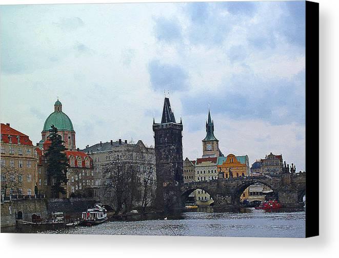 Prague Digital Art Canvas Print featuring the digital art Charles Street Bridge And Old Town Prague by Paul Pobiak