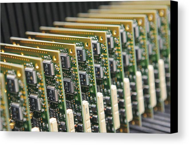 Electronic Circuit Canvas Print featuring the photograph Circuit Board Production by Ria Novosti