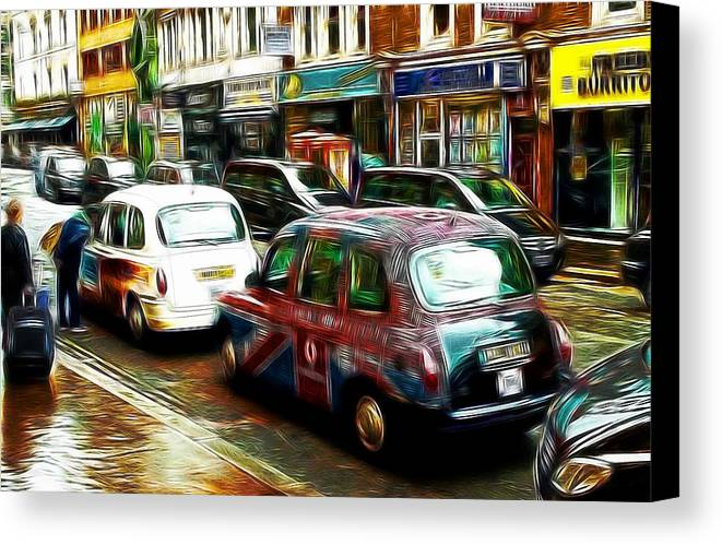 London Taxi Cab Taxicab City England Great Britain Capitol Color Colorful Street Cityscape Comic Art Drawing Painting Expressionism Canvas Print featuring the drawing City Of Colors by Steve K