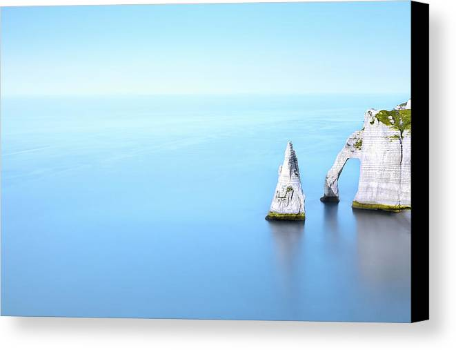 Horizontal Canvas Print featuring the photograph Cliff In Sea by Christophe Kiciak