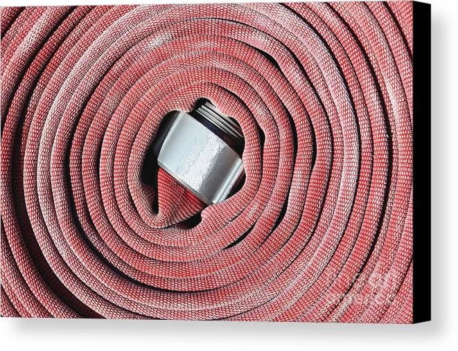 Close Up Canvas Print featuring the photograph Coiled Fire Hose by Skip Nall