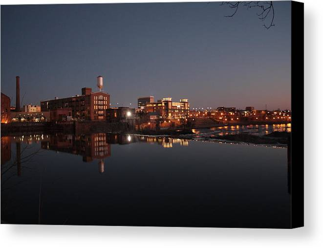 River Canvas Print featuring the photograph Columbus River Skyline by Stephen Funderburk