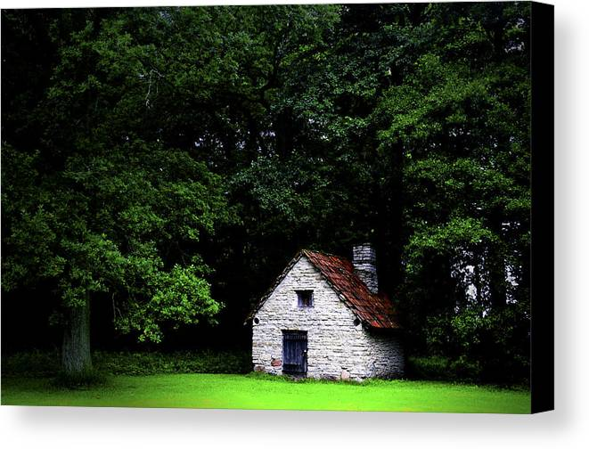 Architecture Canvas Print featuring the photograph Cottage In The Woods by Fabrizio Troiani