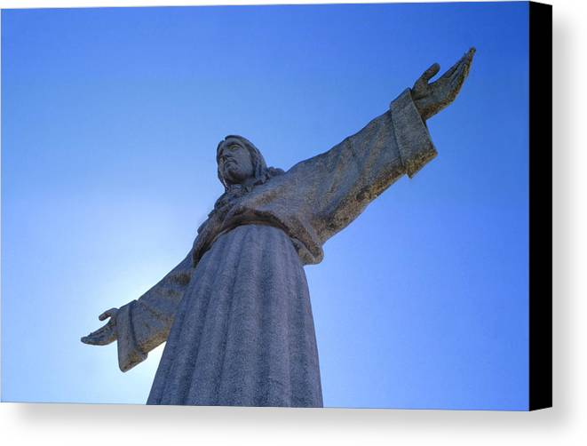 Catholic Monument Of Jesus Christ Inspired By The Christ The Redeemer Statue In Rio De Janeiro Canvas Print featuring the sculpture Cristo Rei by Anonymous