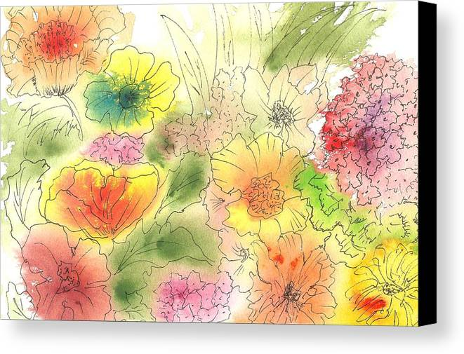 Watercolor Canvas Print featuring the painting Dancing Flowers by Christine Crawford