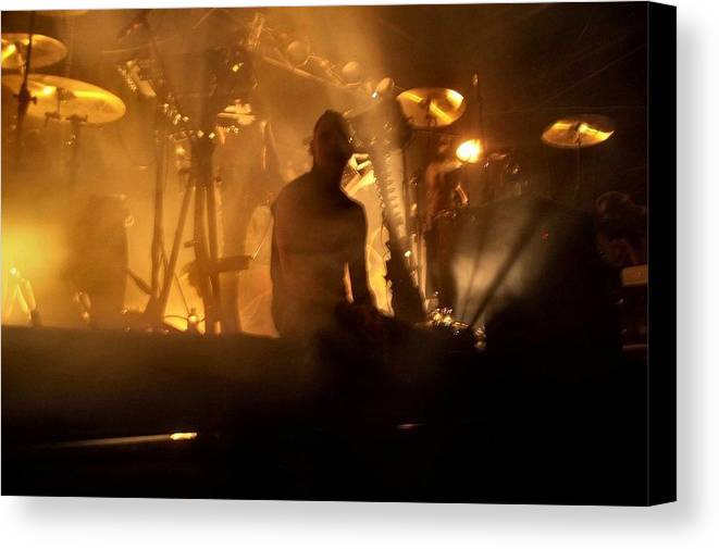 Andy Laplegua Combichrist Music Industrial Aggro-tech Canvas Print featuring the photograph Dead Mic by Kay McLaren