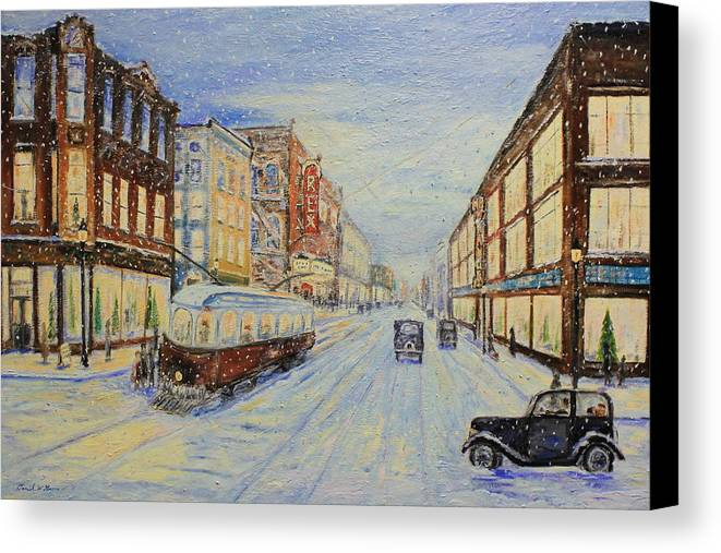 Snow Canvas Print featuring the painting Decemeber 17th by Daniel W Green