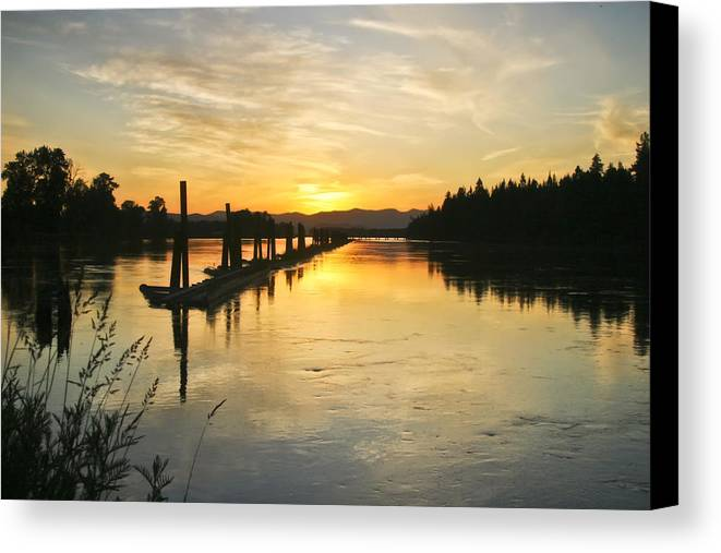 Clark Fork Canvas Print featuring the photograph Delta Sunset by Albert Seger