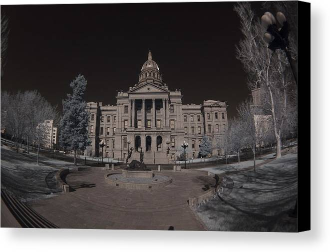 Buildings  Canvas Print featuring the photograph Denver Colorado Capital by Phil Poucher