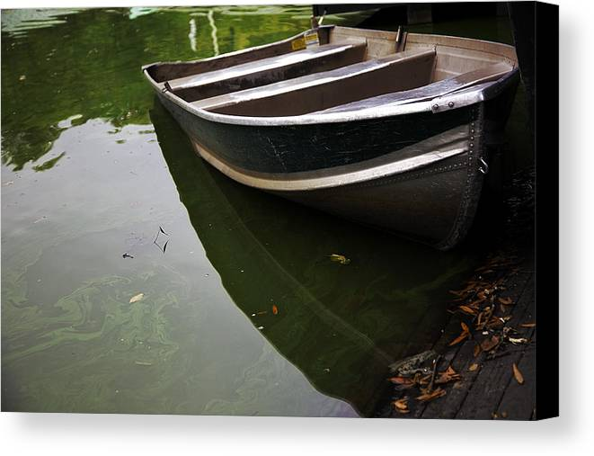 Rowboat Canvas Print featuring the photograph Docked In Central Park by Madeline Ellis