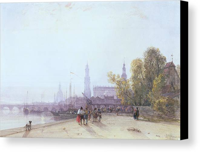 Bridge Spire Canvas Print featuring the painting Dresden by William Wyld