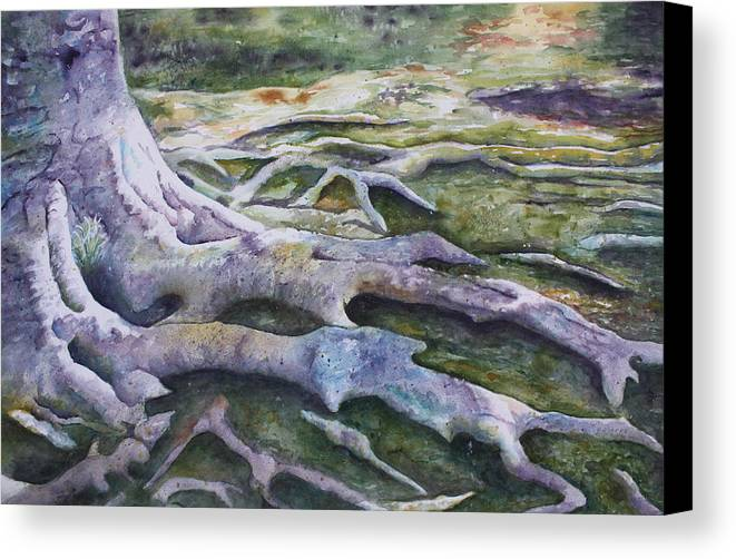Tree Roots Canvas Print featuring the painting Dunbar Cave Roots by Patsy Sharpe