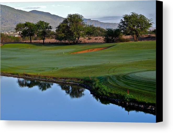 Golf Courses Canvas Print featuring the photograph Dunes At Maui Lani 18th Fairway by Kirsten Giving