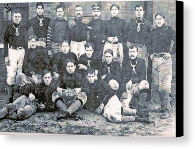 Antique Photo Of A Family Member Canvas Print featuring the photograph Early Football by GL Coomer