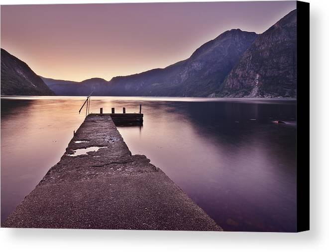 Horizontal Canvas Print featuring the photograph Eidfjord At Sunset by Jesus Villalba