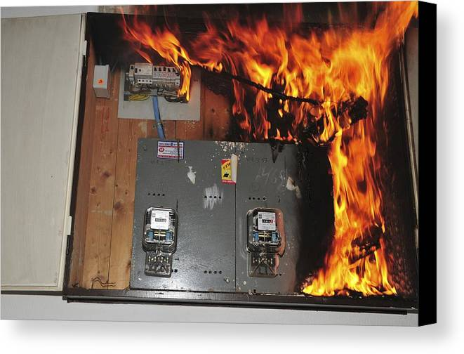 electrical fire in a household fuse box canvas print canvas art by rh fineartamerica com fuse box fiesta 2000 fuse box fire extinguisher