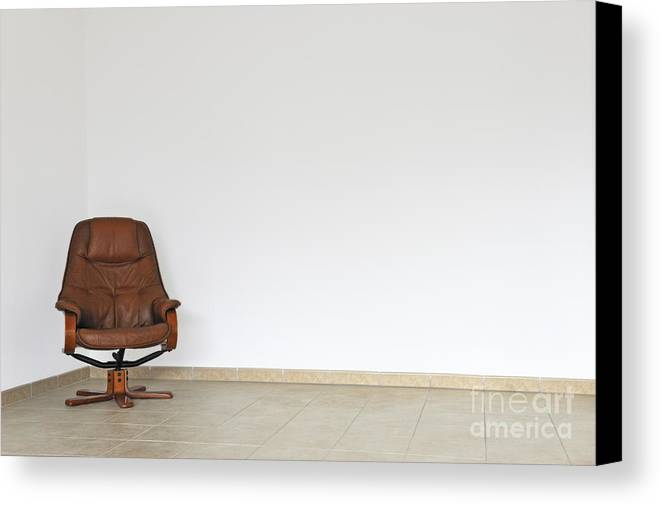 Failure Canvas Print featuring the photograph Empty Office Chair In Empty Room by Sami Sarkis