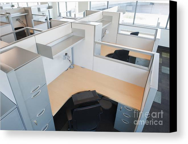 Architecture Canvas Print featuring the photograph Empty Office Cubicles by Jetta Productions, Inc