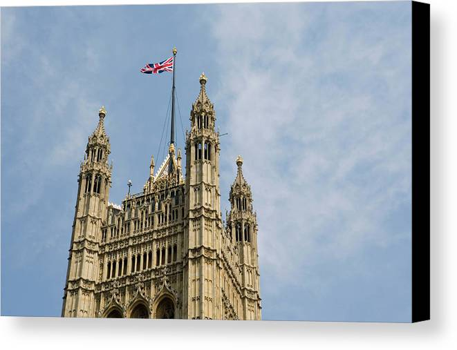 Horizontal Canvas Print featuring the photograph England, London, Union Flag Flown On Houses Of Parliament, Low Angle by Martin Child
