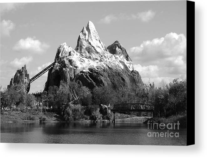 Travelpixpro disney world canvas print featuring the photograph expedition everest profile animal kingdom walt disney world