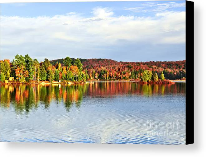 Lake Canvas Print featuring the photograph Fall Forest Reflections by Elena Elisseeva