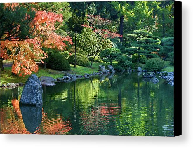 Botanical Canvas Print featuring the photograph Fall Reflections Japanese Gardens by Vicki Hone Smith