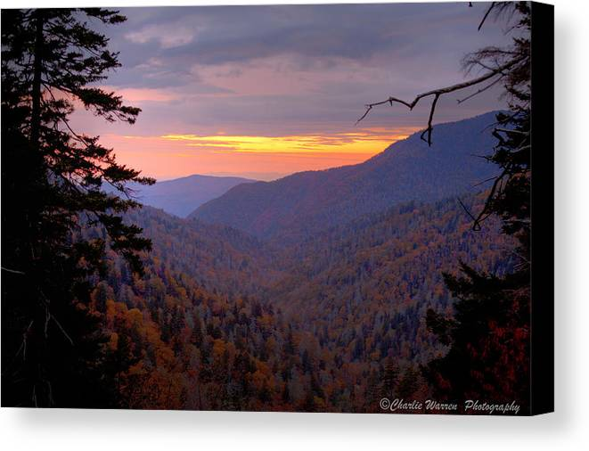 Sunset Canvas Print featuring the photograph Fall Sunset by Charles Warren
