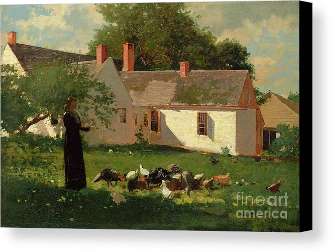 Farmyard Scene Canvas Print featuring the painting Farmyard Scene by Winslow Homer