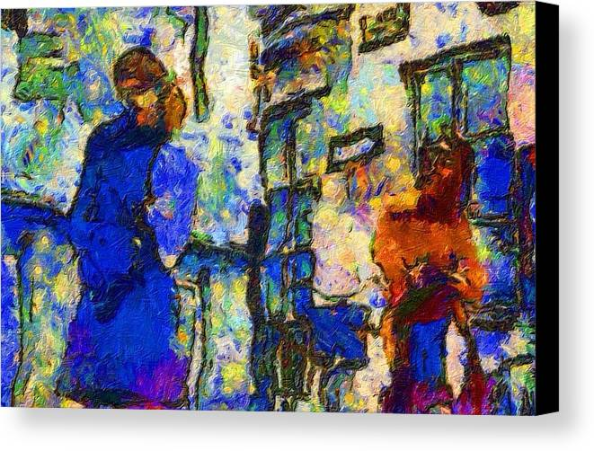 Impressionist Fashion Painting Canvas Print featuring the painting Fashion 344 by Jacques Silberstein