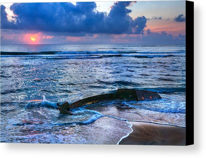 Outer Banks Canvas Print featuring the photograph Final Sunrise - Beached Boat On The Outer Banks by Dan Carmichael