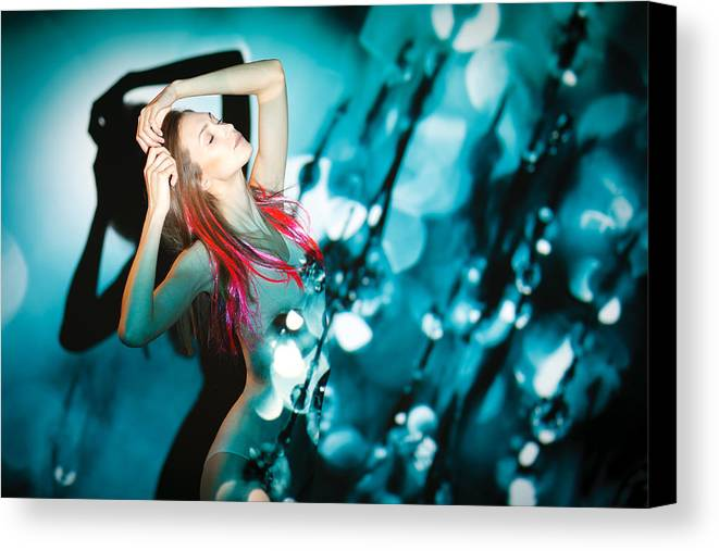 Woman Canvas Print featuring the photograph Fine Art Portrait Of Fashion Woman Posing Over Abstract Background by Pavlo Kolotenko