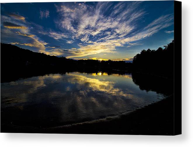 Lake Lanier At Sunset Canvas Print featuring the photograph Fire In The Sky by Scott Rogers