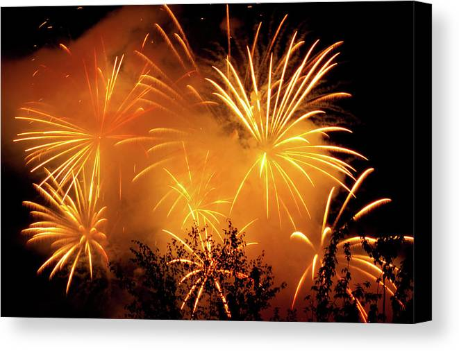 Fireworks Canvas Print featuring the photograph Fireworks Finale by Stanley French