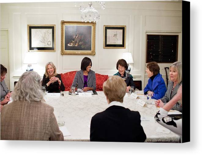 History Canvas Print featuring the photograph First Lady Michelle Obama And Dr. Jill by Everett