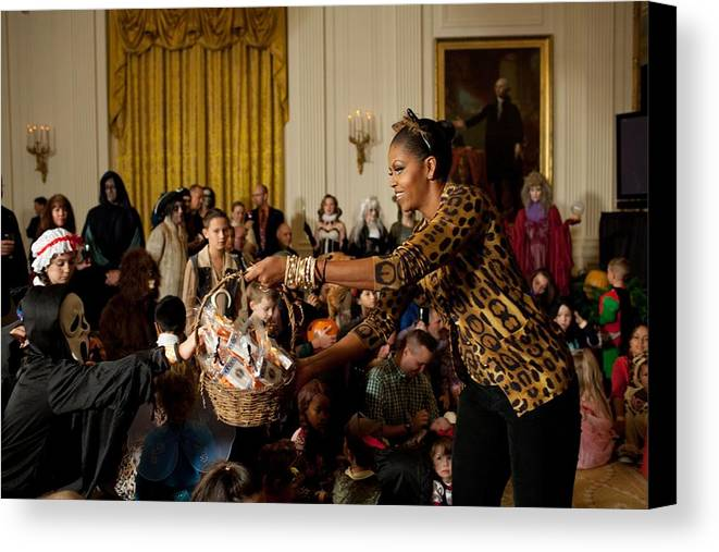 History Canvas Print featuring the photograph First Lady Michelle Obama Hands by Everett
