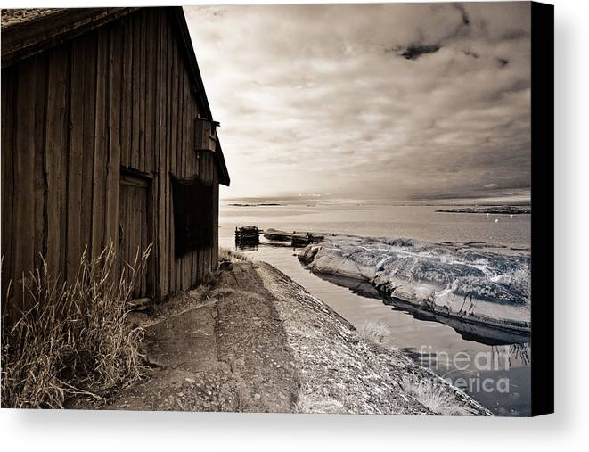Stockholm Archipelago Canvas Print featuring the photograph Fisherman's Hut by Kathleen Smith