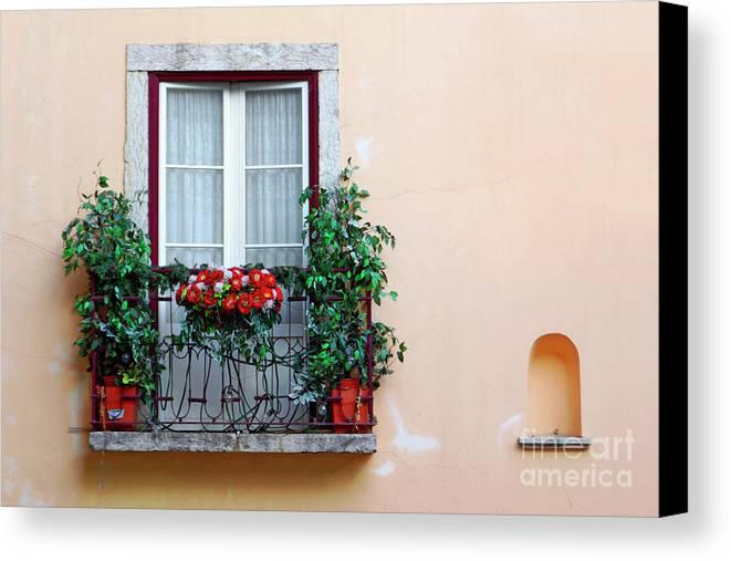 Alfama Canvas Print featuring the photograph Flowery Balcony by Carlos Caetano