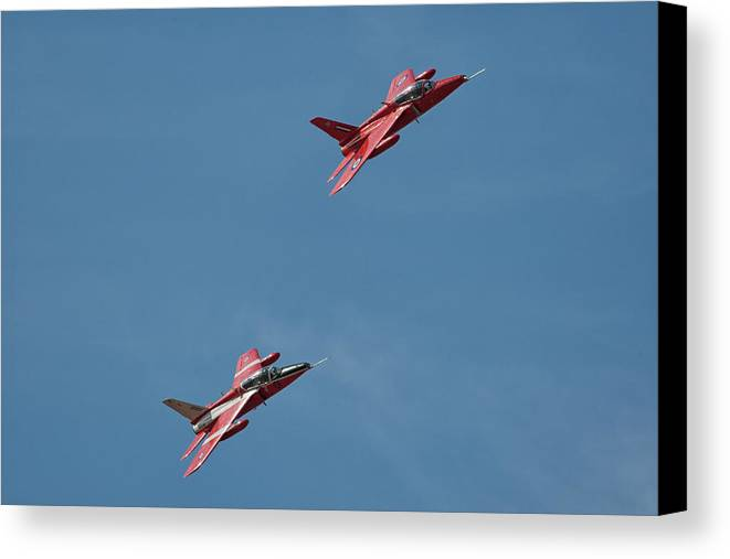 Folland Gnat Canvas Print featuring the photograph Folland Gnat Display Team #2 by Tim Croton