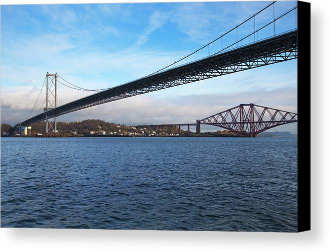 Horizontal Canvas Print featuring the photograph Forth Road Bridge And Forth Rail Bridge by Anna Henly