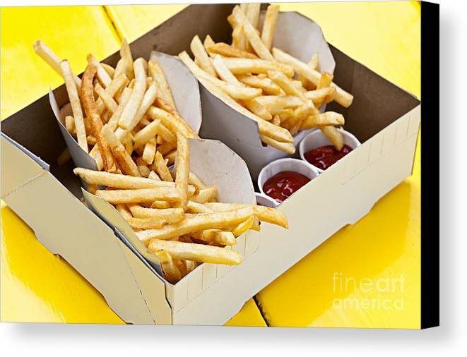 Fries Canvas Print featuring the photograph French Fries In Box by Elena Elisseeva