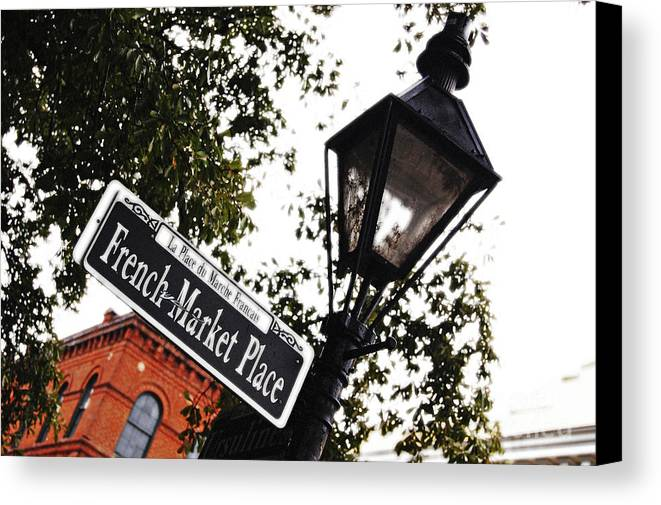 Travelpixpro New Orleans Canvas Print featuring the photograph French Quarter French Market Street Sign New Orleans Diffuse Glow Digital Art by Shawn O'Brien