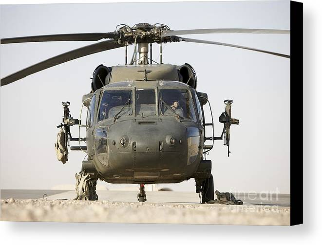 Aviation Canvas Print featuring the photograph Front View Of A Uh-60l Black Hawk by Terry Moore