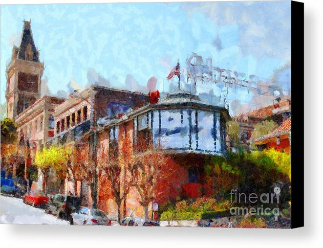 San Francisco Canvas Print featuring the photograph Ghirardelli Chocolate Factory San Francisco California . Painterly . 7d14093 by Wingsdomain Art and Photography
