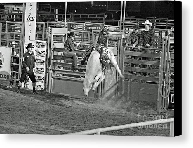 Bull Riding Canvas Print featuring the photograph Going For 8 by Shawn Naranjo
